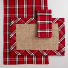 Plaid Table Linens Collection at World Market, @Christine Cohn, these are for you! :)