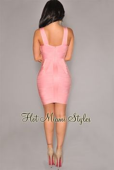 Baby Pink Strap Accents V Neck Bandage Dress Womens clothing clothes hot miami styles hotmiamistyles hotmiamistyles.com sexy club wear evening clubwear cocktail party kim kardashian dresses bandage body con bodycon herve leger