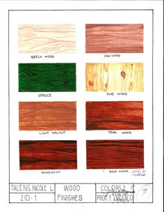 """Subject: Colors 2: Rendering Wood Finishes Watercolor on 8.5""""x11"""" Watercolor Paper"""