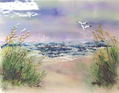While appearing to be a painting this creative glass mural is 100% glass.  The sea oats, seagulls, driftwood, fencing and sail boats provide texture and dimension.  This are piece can be set into a...