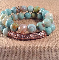 Rainbow Blue Agate Stretch bracelets with by VellaAndRoJewelry, $25.00