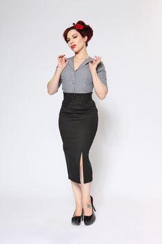 b6bcaab294987 Vogue Pencil Skirt - Black AT vintagedancer.com 1950s Fashion Dresses
