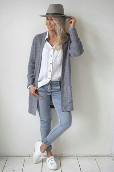 Blue, gray, white outfit