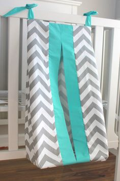 Gray Chevron with accent Aqua Diaper Stacker. by babymilanbedding Love this!