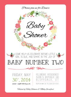 Floral And Bright Spring Baby Shower Invitation For Baby Girl, First Or Second  Baby | Downloadable File Or Printed Copies