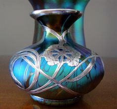 Loetz Medici Silver overlay vase