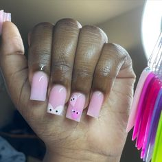 Acrylic Nails Coffin Pink, Short Square Acrylic Nails, French Acrylic Nails, Square Nails, Dope Nail Designs, Cute Acrylic Nail Designs, Arylic Nails, Exotic Nails, Fire Nails