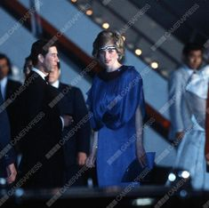 MAY 12 1986 Princess Diana At A Dinner Hosted By Emperor Hirohito In Japan. She Is Wearing A Pleated Royal Blue Evening Dress Designed By Fashion Designer Yuki And A Sapphire And Diamond Headband Made From Jewels Which She Had Reset From The Saudi Suite Converting The Watch Into A Choker To Wear On Her Forehead