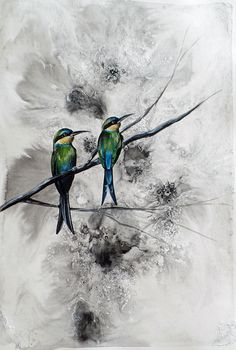 Available to buy online from StateoftheART, Bee Eaters by Liffey Joy, mixed media on paper painting size 42 x 59 cm unframed. South African Birds, Bee Eater, Figurative Art, Online Art Gallery, Paper Art, Bird Paintings, Joy, Wild Animals, Abstract