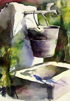 by Gudrun Roehm Watercolor Pictures, Watercolor Artists, Watercolor And Ink, Watercolor Paintings, Watercolor Flowers, Watercolors, Watercolor Portraits, Abstract Paintings, Oil Paintings