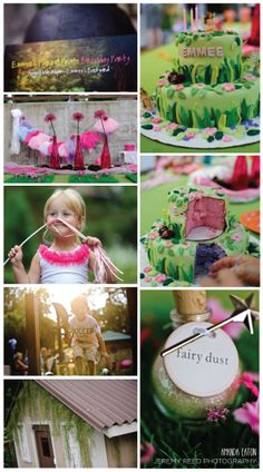 Fairy Princess Birthday Party--this is a fairy + pirate but I doubt I'll be doing another double party anytime soon. I love the fairy dust idea. The cake is over the top. Might just do this and raid the Dollar Tree for dress up stuff and wait on the tea party until she's a bit older.