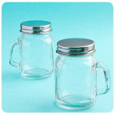 Perfectly Plain Collection Glass Mason Jars (FashionCraft from Wedding Favors Unlimited. Mason Jars With Handles, Mini Mason Jars, Mason Jar Wedding Favors, Wedding Favours, Wedding Ideas, Party Favors, Wedding Stuff, Wedding Candy, Wedding Vows