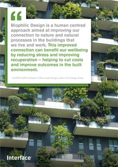 Read more about biophilic design and our connection to nature in our guide. Source by interface Biophilic Architecture, Interior Architecture, Landscape Architecture, Interior Design, Sustainable Trends, Sustainable Design, Human Centered Design, Workplace Design, Built Environment