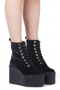 Jeffrey Campbell Shoes COMMANDO Boots in Black Velvet Black Box