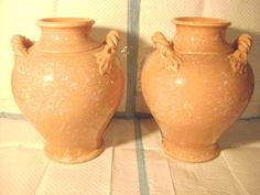 A PAIR OF ETHAN ALLEN MADE IN ITALY-LARGE DOUBLE HANDLED-PEACH GLAZED VASES
