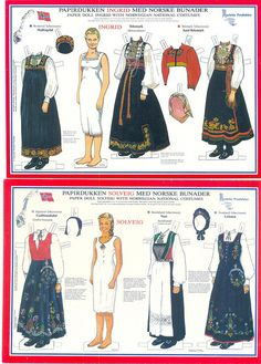Ingrid and Solveig Paper Dolls with Norwegian National Costumes from Hallingdal, Telemark, Aust-Telemark and Godbrandsdal, Voss, and Lofoten Paper Dolls Clothing, Doll Clothes, Folk Costume, Costumes, Paper Art, Paper Crafts, Paper Dolls Printable, Paper People, Thinking Day