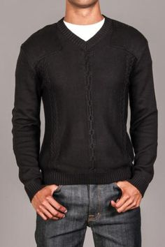 Saturday Styling! MG Black Label Cable Knit Sweater with Gun Flap Detail & Elbow Patches Onyx