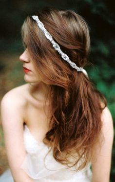 Bride's half up long down bridal hair Toni Kami Wedding Hairstyles ♥ ❷ Wedding bridesmaids hairstyle ideas hair jewelry