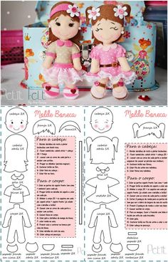 oh my goodness ! Yes , I shall ring in the new year sewing !Felt Dolls Pattern and directions in non english Make in cloth or felt. Felt Patterns, Stuffed Toys Patterns, Fabric Dolls, Paper Dolls, Bjd Doll, Sewing Dolls, Felt Diy, Soft Dolls, Doll Crafts