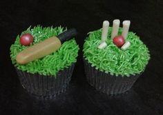 Cricket cupcakes Cake Cookies, Cupcake Cakes, Cup Cakes, 18th Birthday Cake, Boy Birthday, Cricket Cake, Thomas Birthday, Cakes For Boys, Themed Cakes