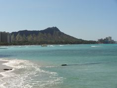View of Diamond Head from Waikiki Beach, Oahu, Hawaii
