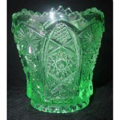 Vintage Imperial Glass Toothpick Holder Octagon Pattern Green