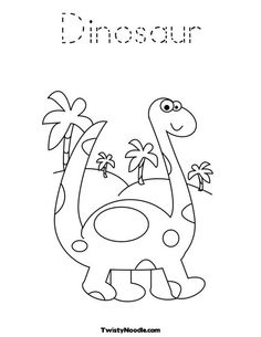 cute dinosaur coloring page allows you to change lettering twisty noodle great preschool learning printables - Preschool Dinosaur Coloring Pages