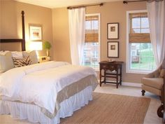 Would make a beautiful guest bedroom, so calming and maybe add a small pop of color in pillows or a throw