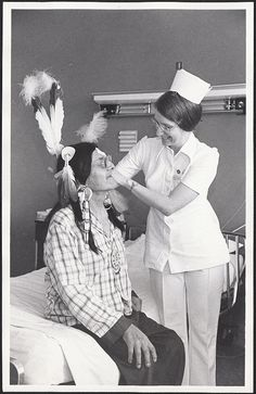 Chief Frank White Buffalo Man, grandson of Chief Sitting Bull, patient at Providence Medical Center, Portland, Oregon, November 1976 by Providence Archives, Seattle, via Flickr