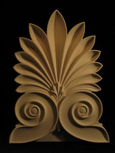 Anthemion-organic shape inspired by the honeysuckle blossom and features radiating petals that form a fan shape. Petals rise from a nucleus that is positioned between two petals. This form is often seen in Greek motifs. Bird Sculpture, Bronze Sculpture, Wall Sculptures, Catholic Altar, Decor Around Tv, Engraving Art, Wood Carving Designs, Wood Detail, Wooden Art