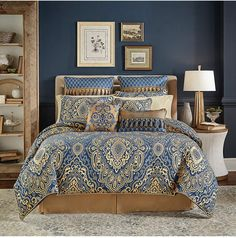 Croscill Allyce 4-Pc. California King Comforter Set Bedding. When a patterned blue bedding set is needed, this gorgeous piece looks terrific against a dark background. #bluebedding #beddingsets #bluedecor #bedroomideas #afflnk