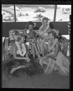 Vintage black and white photo of the ladies at the 1949 Swimming Club luau