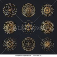 Sacred geometry symbols. Set of vector design elements isolated on black background
