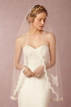 This veil would truly MAKE the look on my wedding day. Scalloped Fingertip Veil