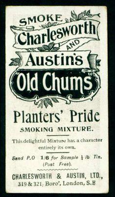 Cigarette Card Back - Charlesworth & Austin