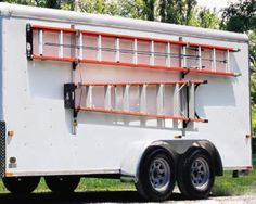 a side ways ladder mount on the side of trailer, along with a matching ladder. also, some way to get the ladder to not bend the roof. what would that be called? like a ladder spacer? Work Trailer, Trailer Build, Utility Trailer, Ladder Storage, Van Storage, Ladder Racks, Storage Ideas, Trailer Shelving, Trailer Storage
