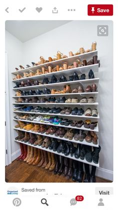 Install adjustable shelving on your bedroom wall for a store-like display of your shoes. Here's 19 shoe storage and organization hacks that are worth trying even if you are on a budget. You will love these DIY shoe organizer ideas! Diy Closet Shelves, Closet Shoe Storage, Diy Shoe Rack, Shoe Racks, Clothing Storage, Garage Shoe Rack, Shoe Rack On Wall, Shoe Wall, Shelves For Shoes