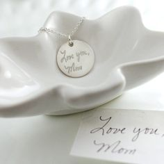 Handwriting necklace - Your loved one's actual handwriting on a sterling silver necklace!