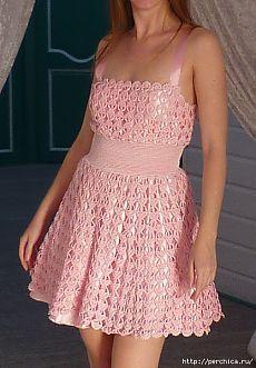 Платье крючком по мотивам D&G *Перо Ангела*