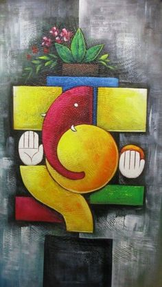 Buy Ganesha Blessing artwork number a famous painting by an Indian Artist Vishal Gurjar. Indian Art Ideas offer contemporary and modern art at reasonable price. Ganesha Drawing, Lord Ganesha Paintings, Ganesha Art, Krishna Painting, Madhubani Painting, Ganesha Rangoli, Indian Art Paintings, Modern Art Paintings, Rangoli Simple