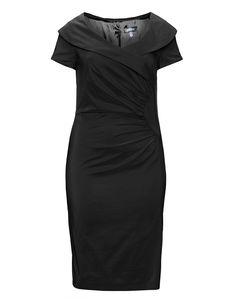 Weise Kleid mit Raffung aus Stretchtaft in Schwarz