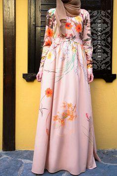 Maye Dress - maxi dress, patent print fabric. Modest wear www.annahariri.com