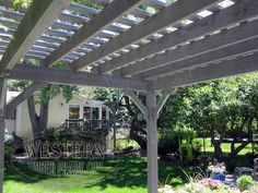 Free standing pergola with Canyon Gray stain and Southwest profile.