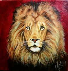 """'The Lion from the Tribe of Judah' 8""""x8 """" Acrylic on Gallery Wrapped Canvas By Texas Artist Jennifer Remy Renfrow"""