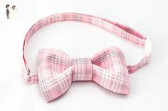 Pink Plaid Bow Tie Boys - Pink/White/Grey Plaid Bowtie for Boys, Pink Baby Bow Tie, Pink Bow Tie Baby - Groom fashion accessories (*Amazon Partner-Link)