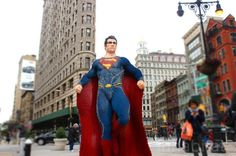 LEGO Superheroes show up In Madison Sq Park to celebrate the new LEGO Flatiron store