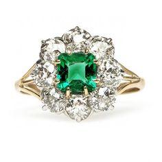 Antique Emerald Old Mine Cut Diamond Engagement Ring