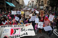 Demonstrators during the Women's March on Jan. 21, 2017 in Barcelona, Spain.