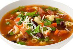 * Soupe minestrone ; Pour 6 personnes ; Temps de préparation : 15 min ; Temps de cuisson : 30 min ; Ingrédients : 2 c.s huile d'olive, 1 oignon, 4 gousses d'ail, 2 branches de céleri, 1 carotte, 1 ½ t. haricots verts, 1 c.c origan, 1 c.c basilic, Sel et poivre, 800g de tomates en dés, 400g de tomates broyées, 6 t. bouillon de poulet, 400g d'haricots, 1 tasse de pâtes (coudes), 1/3 t. fromage parmesan, 2 c.s basilic frais