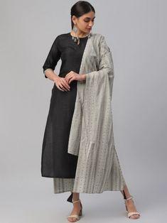 Black Solid Kurta with Trousers & Dupatta Indian Dresses For Girls, Girls Dresses, Patiala Suit, Punjabi Suits, Palazzo Suit, Salwar Kameez Online, Girl Online, Girls Shopping, Duster Coat